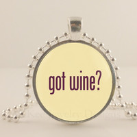 """Got wine? White and purple wine glass,  1"""" glass and metal Pendant necklace Jewelry."""