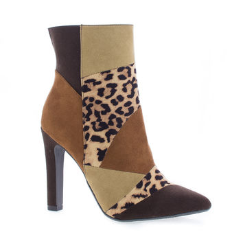 Yvette Multi Cheetah By Delicious, Pointy Toe Thick High Heel Ankle Bootie