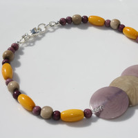 Bright Yellow and Light and Dark Purple with Natural Light Brown Beaded Tagua Nut Anklet Silver Color