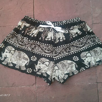 Exotic Black Summer Beach Shorts Boho Tribal Elephant Print Hippie Clothing Aztec Ethnic Bohemian Ikat Boxers Cotton Rayon Cute Comfy Women