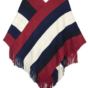 Dahlia Women's Knitted Poncho - V Neck Multi-Stripe Tassel Cape