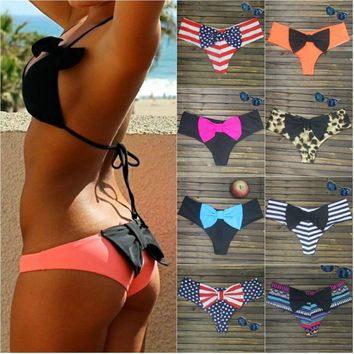 Big Bow Triangle Swimsuit Sexy Brazilian Thong Bikini Big Bottom Print Bikini Swimwear Bow bottom flag swimming suit for Women