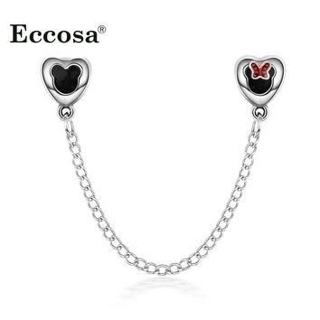 European Silver Double Heart Mickey Safety Chain Beads Diy Bead Charms Fit Pandora Bra