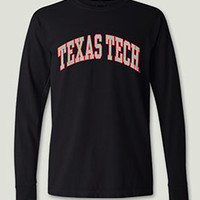 <i>Classic Texas Tech Arch</i> in Heather Grey on Black Long Sleeve Tee