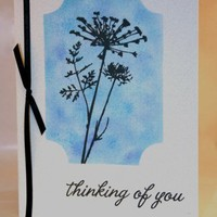 Blue and Black Floral Thinking of You Card w/Ribbon