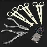2015  Disposable Body Piercing Kit Tools Pliers Forceps Needles Accessories Set with Eyebrow Labret Lip Nipple Nose Studs Rings