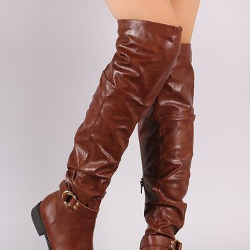 Wild Diva Lounge O-Ring Buckle Slouchy Slouchy OTK Boots