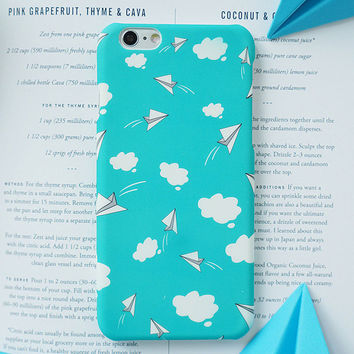 Lovely Cartoon Blue Sky White Clouds Painting Case For iphone 6 Case Hard PC Frosted Cover Phone Cases For iphone 6S 7 Plus -0315