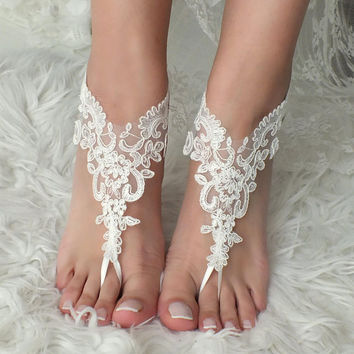 White or ivory Beach wedding barefoot sandals wedding shoes prom party lace barefoot sandals bangle beach anklets bride bridesmaid gift