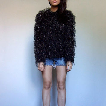 90s Fuzzy Sweater Black Gold Top Winter Snag Oversized Jumper Club Kid Pullover - Small Medium S M