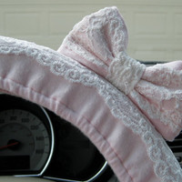 Pink & Lace Steering Wheel Cover with Matching Bow