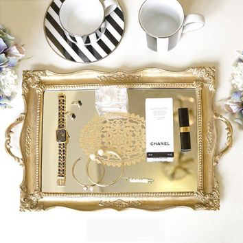Antique Style Floral Carving Frame Brass Mirrored Vanity Tray