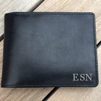Father of the groom gift • Personalized men's black leather wallet •  engraved wallet •  leather RFID wallet • monogram wallet Black•7751••