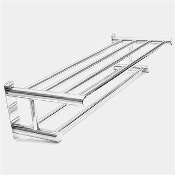 Best Quality Stainless Steel Double Layer Towel Rail Wall Mounted Bathroom Storage Shelf Rack Clothes Towel Rail Holder
