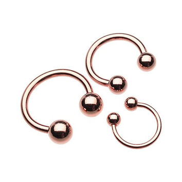 Rose Gold Horseshoe Ring (14g 10mm (4mm Balls)) Septum Horseshoe