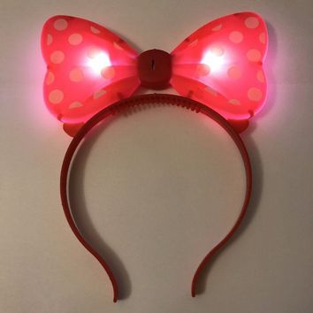Minnie Mouse Flashing LED Polka Dots Spots Bow Hairband Girls Party Favors