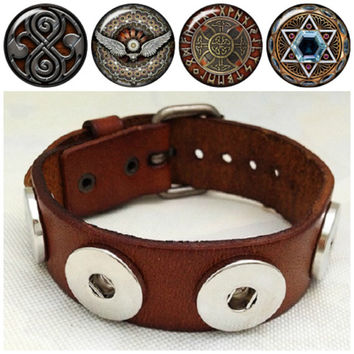 Adjustable Noosa style leather bracelet with 4 interchangeable Celtic print snaps. Free shipping!