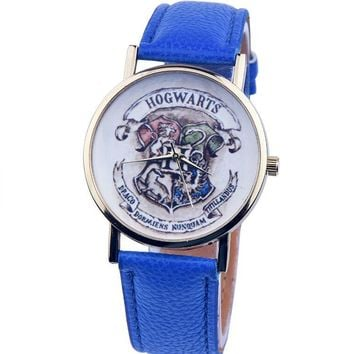 2016 New Harry Potter Hogwarts School Design Magic School Watch, Hogwarts Magic Pattern Badges Leather Watch Unisex Watch