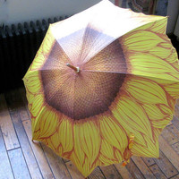 Beautiful SUNFLOWER Vintage Umbrella // Parasol