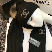 CHANEL Women Beanies Knit Hat Cap Scarf Scarves Set Two-Piece