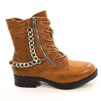 Explore01 by Bamboo, Women Punk Rock Gothic Chained Biker Combat Boot Zippers