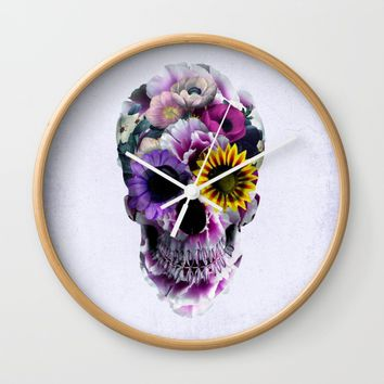 Floral Skull Wall Clock by RIZA PEKER