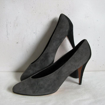 Vintage 80s Suede Shoes Anne KLEIN Gray Black 1980s Leather Pumps Shoes 9.5M
