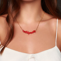 Coral Necklace - Red Coral Necklace -Coral Beaded Bar Necklace - Coral Pendant  -  Bead Necklace- Coral Bridesmaids