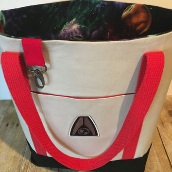 READY TO SHIP - Mass Effect Tote Bag, Lined with Pockets, Snap Closure, and Key Hook/Systems Alliance Bag
