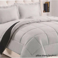 """Kate Elegance Sound Sleepers 1-Piece King Size (102"""" x 86"""") Reversible Solid Comforter - Silver/Black"""
