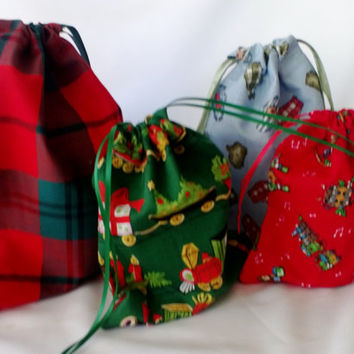 4 Fabric Christmas Gift Bags for Children Upcycled, Reusable