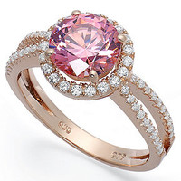 14k Rose Gold over Sterling Silver Ring, Pink Cubic Zirconia wth Swarovski Elements Ring (4-3/4 ct. t.w.)