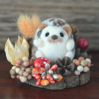 Autumn needle felted hedgehog in woodland diorama, fall season mini woodland theme home decor, happy hedgehog doll, gift under 25