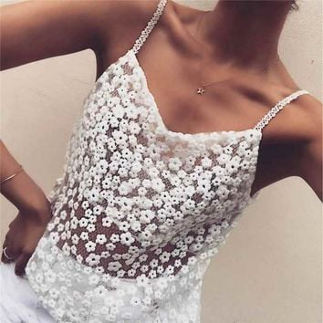Summer Lace Slip Women Camisole Top Beach Blouse Casual Sheer Sexy White Clothes
