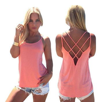 Women's Cute Criss Cross Back Tank Tops Loose Hollow Out Camisole Shirt