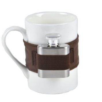 NPW Extra Shot Coffee Mug & Mini Flask Set, White/Brown