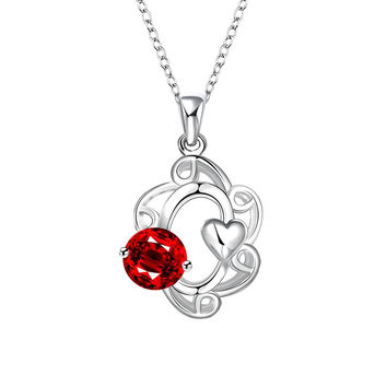Mock Ruby Red Gem Spiral Pendant Drop Necklace