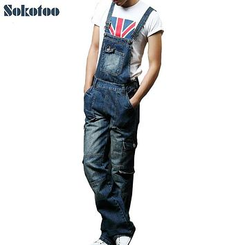 Sokotoo Men's plus size pocket overalls Fashion denim jeans for lovers Loose jumpsuits male Bib cargo pants
