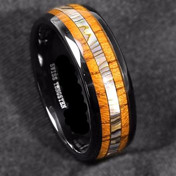 Tungsten ring with inlay of koa wood and abalone shell