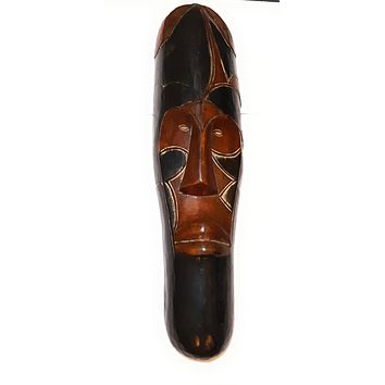 "25"" African Gabon Cameroon Wood Fang Mask: Brown and Black"