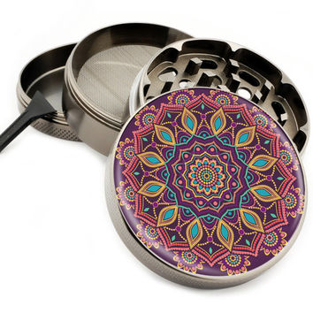 "Love Child Mandala - 2.5"" Premium Zinc Herb Grinder - Custom Designed"