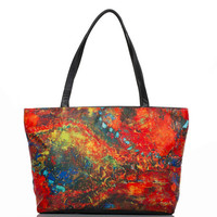 Large shoulder handbag, Galaxy, handbag, large leather bag, orange bag, large purse, two sided bag, computer bag, gift for her