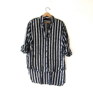vintage striped silver + black shirt. button down boyfriend shirt. sheer oversized slouchy shirt. semi sheer rocker shirt. high low shirt.