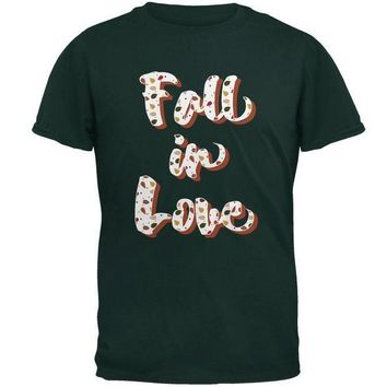 ICIK8UT Autumn Fall in Love Leaves Pattern Mens T Shirt