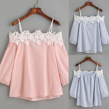 2017 New Fashion Summer Clothes Women Lace Vest Top Tank Casual Blouse Tops Off Shoulder Shirt