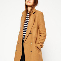 Long Sleeve Notched Collar Trench Woolen Coat