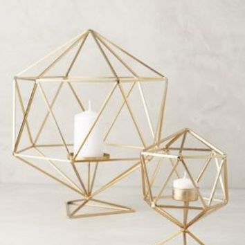 Hexacut Candleholder by Anthropologie in Gold Size: