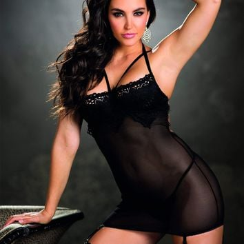 Shirley Of Hollywood Gartered Chemise Stretch Lace & Mesh