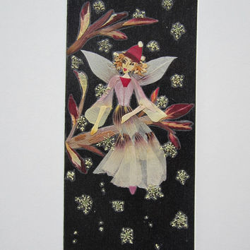 """Handmade unique Christmas greeting card """" Snow Magic, Make a Wish"""" - Decorated with dried pressed flowers and herbs - Original art collage."""