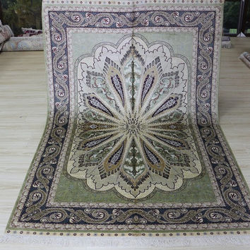 Speical 5'x7.5' Hand Knotted Pure Silk Rug Classic Persian Style with Peacock Feather Design (MYX-5713, Light Green & Multi)